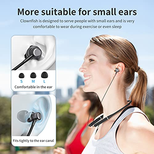 Neckband Bluetooth 5.0 Headphones, Clownfish Magnetic Wireless Earbuds, Waterproof, Built-in Mic, Sports Earphones for Running & Workout, 8 Hours Play time(Black)