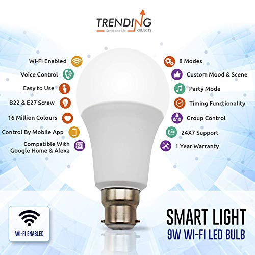 Trending Objects 9W WiFi B22 Base, Dimmable, APP Remote Controlled Home LED  Night lamp, Compatible with Alexa and Google Assistant (Multi-Color)
