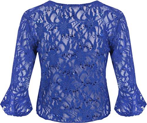 longues Cardigan et court Grandes et Cardigans en un paillet Femmes dentelle mi tailles 40 WearAll les avec noeud 54 vases Bleu Royal manches q7d85nw