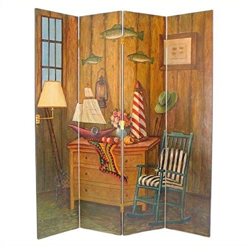 Wayborn Home Furnishing Fisherman 4 Panel Distressed Room Divider, 72'', White