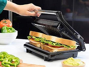 Rockn Grill 750! Parrilla eléctrica de piedra volcánica sin PFOA con termostato ajustable plancha panini eléctrica multiusos placa tostadora de mesa ...