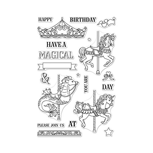 Hero Arts CM296 Clear Stamp Set, Ornate Carousel, 4