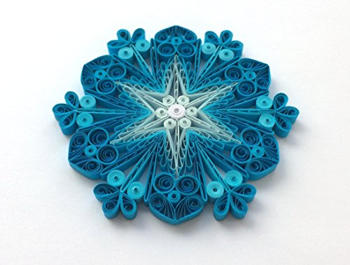 Quilling Art Paper Snowflake Star 3 3/4″ x 3 3/4″ Modern Home Decor Christmas Ornament Gift Hanging Accessories Blue White Frosty (Frosty Ornament Snowflake)