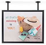 Displays2go, Ceiling-Mounted Flange Sign Frames, Aluminum Construction, Wall & Ceiling Mounted – Black Finish (CHSF2822BK)