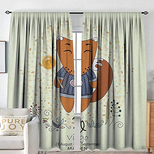 Petpany Bathroom Curtains Zodiac Virgo,Funny Happy Cartoon Character on a Floral Background Kids Horoscope Design, Multicolor,Drapes Thermal Insulated Panels Home décor 100
