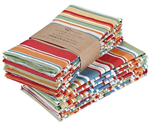"""Ruvanti Cloth Napkins 12 Pack(100% Cotton 20"""" X 20"""") Dinner Napkins, Soft & Comfortable Cotton Napkins. Multi Color Luxurious Linen Napkins for Family Dinners, Weddings, Cocktail Parties & Home Use."""