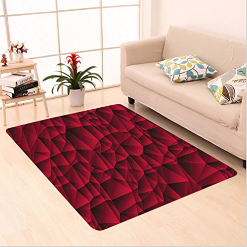 Porcello Waves (Nalahome Custom carpet oon Decor Modern Geometric Contemporary Art Wave Like Shapes with Abstract Backdrop Image Maroon area rugs for Living Dining Room Bedroom Hallway Office Carpet (5' X 7'))