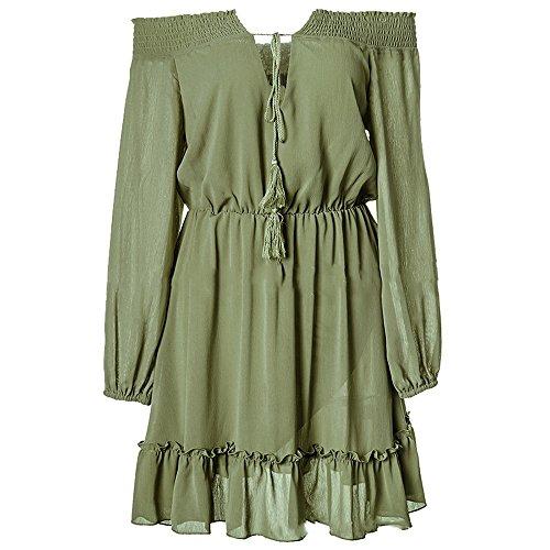 Mini Verde Lunga Donne Le Abito Vestito Fuori Dal Vestito Manica Bonboho Partito Spalla Grigio 5wqTpO