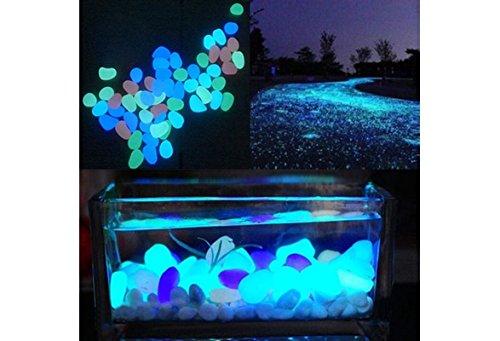 100 Pcs New Colorful Glow in The Dark Pebbles Stones Rocks For Fish Tank Aquarium Garden Walkway by Qiao Niuniu