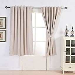 Tailormader 2 Pieces Heavy Duty Fabric Thermal Layer Total Blackout Curtain 52\