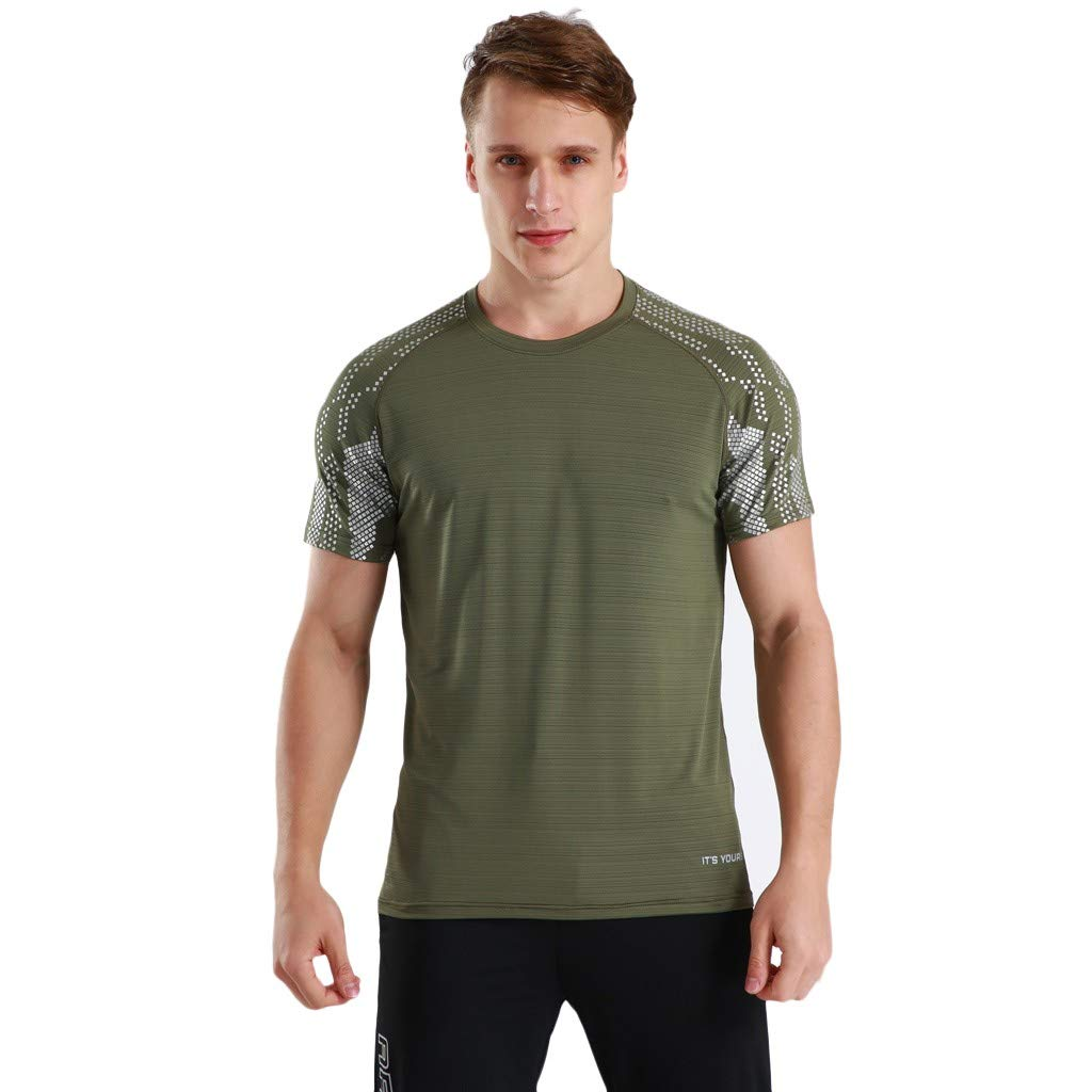 Winsummer Men's Dry Fit Athletic Shirts Short Sleeve T-Shirt Running Fitness Tee Shirts Crewneck Tshirts