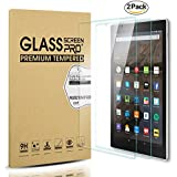 [2-Pack] All-New Fire HD 8 Screen Protector, [9H Hardness] [Bubble Free] [Anti-fingerprint] Tempered Glass Screen Protector for Fire HD 8 Tablet (2017 Release) - Permanent Warranty Replacement