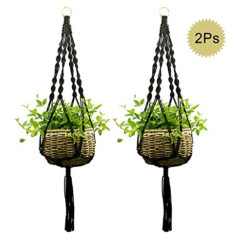 Ropesart 2 Pcs Macrame Pot Holder Knotted Hand-woven Black Morden Style Hemp Plant Hanger With Key Ring