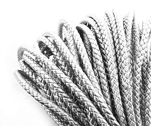 1yrd 0.9m Metallic Silver Faux Braid PU Leather Rigid Thickness Braided Round Leather Cord Jewelry Making Cord Braided Headband 7mm
