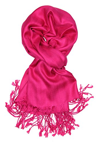 (Achillea Large Soft Silky Pashmina Shawl Wrap Scarf in Solid Colors)