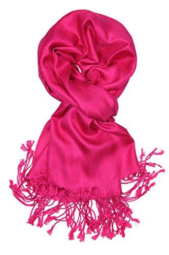 Achillea Large Soft Silky Pashmina Shawl Wrap Scarf in Solid Colors (Fuchsia)
