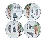 Heart of America 4 Assorted Stoneware Plates With Pinecones - 4 Pieces