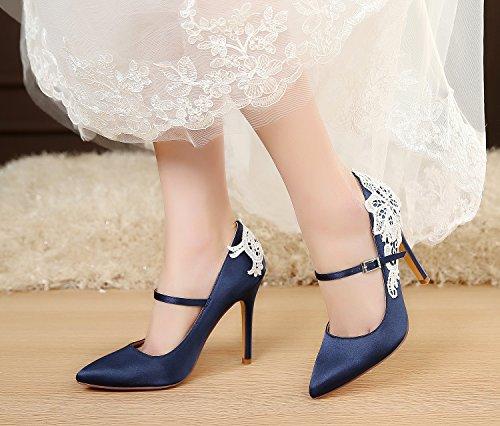 Luxveer Satijn Trouwschoenen Sexy Dames Schoenen Met Kanten Bloemen Bruids Schoenen Hoge Hak Avond Schoenen 4.5 Inch Rs-2064 Donkerblauw