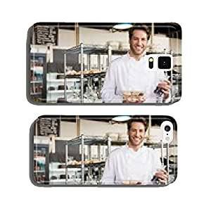 Cheerful baker holding coffee house and food cell phone cover case Samsung S5