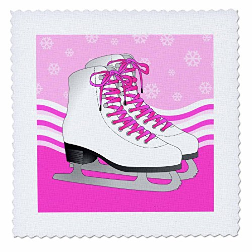 - 3dRose Pair of Pink Ice Skates on Snowflake Background - Quilt Square, 6 by 6-Inch (qs_77475_2)