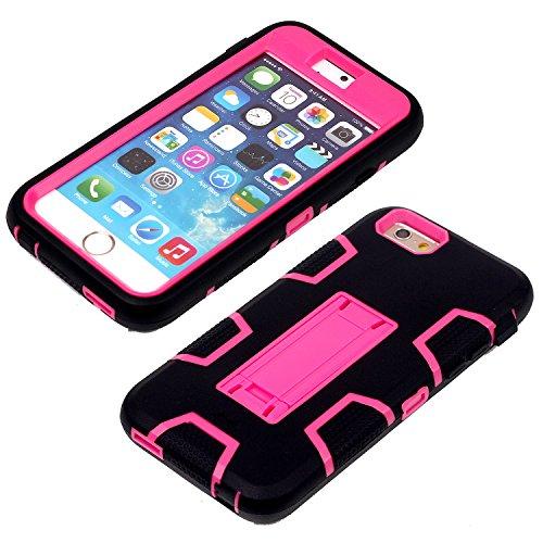 iPhone 6 6S Shockproof Custodia,Heavy Duty Rosa PU & PC Urti Assorbimento Case Robusto Back Paraurti Caso Armatura ibrida Kickstand Protettiva Case Shell Cover per iPhone 6 6S