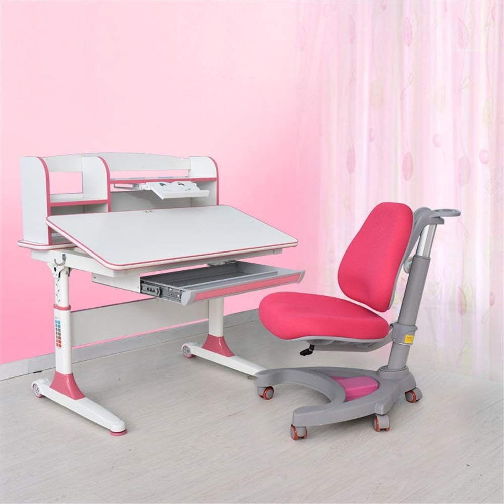 Limaomao-Home Kids' Desks Childen Kids Study Table Desk Chair Set Multi-Functional Desk and Chair Set School Student Desk Book Stand Height Adjustable That Make Doing Homework More Fun (Color : Pink) by Limaomao-Home