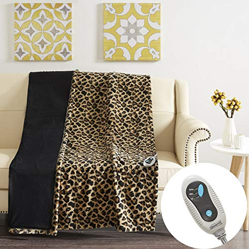 Beautyrest - Heated Electric Blanket Faux Long Fur Throw Shoulder and Neck Wrap - Ultra Soft and Warm Hypoallergenic Fleece - Leopard Print - 50x60 inches