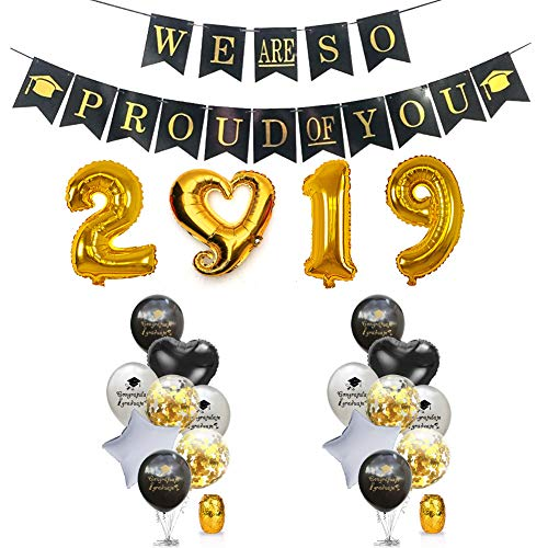 2019 Graduation Party Supplies - Graduation Party Decoration Pack, Including a WE ARE SO PROUD OF YOU Banner, Number 2 0 1 9 Foil Balloons, 2 18'' Heart Shaped and Star Shaped Balloons, 8 12'' Graduation Theme Balloons and 4 12'' Transparent Balloons with Golden Pieces inside, Great for Graduation Party