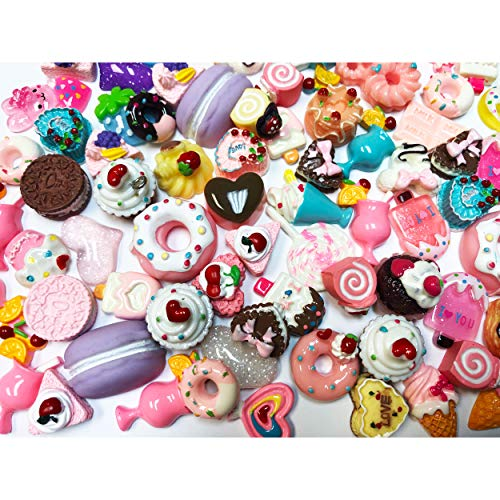 DIYJewelryDepot TM:Slime Charms Cute Set- 100 pcs Large Size Food Sweets, Ice Cream, Cupcake, Cakes, Cookies, Macroons, Resin Cabochons Charms. Great for Slime Addition