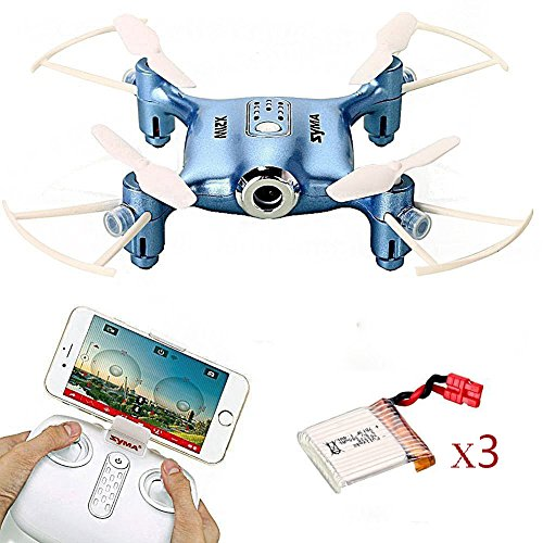 Syma X21W WIFI FPV Mini Drone with Extra 2 pcs Batteries 2.4GHz 4CH 6-axis Camera Live Video LED Nano Pocket 360-degree Rotation RC Quadcopter With Gyro App Control Blue