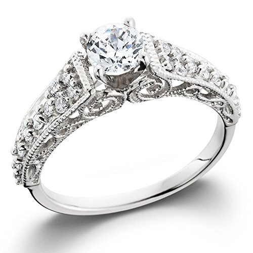 1/2ct Vintage Filigree Diamond Engagement Ring 14K White Gold
