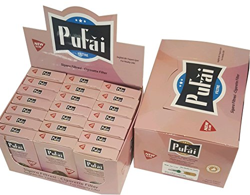 Slim cigarette filters. 525 piece ( 21 rose box * 25 filters) disposable slim,slender and super slim size [5 and 6 mm] cigarette filters holder. New 6 hole strong filtration sytem by Pufai.