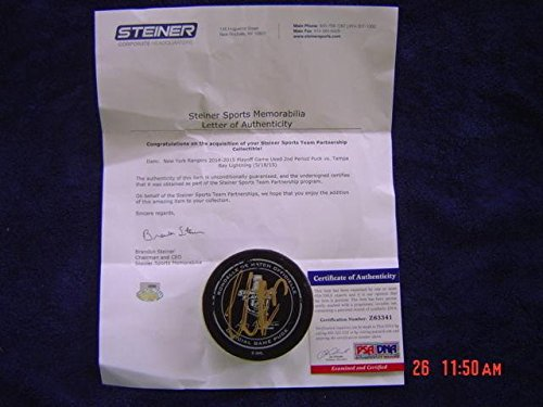 (Tampa Bay Lightning Victor Hedman Game Used Signed 2015 Playoff Puck Steiner - PSA/DNA Certified - Autographed Other Game Used NHL Items)