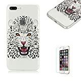 """For iPhone 7 Plus 5.5""""Case [with Free Screen Protector], Funyye Fashion lovely Lightweight Ultra Slim Anti Scratch Transparent Soft Gel Silicone TPU Bumper Protective Case Cover Shell for iPhone 7 Plus 5.5""""-leopard"""