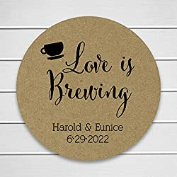 Kraft Wedding Stickers, Love is Brewing Tea or Coffee Wedding Stickers, Wedding Labels (#095-KR)