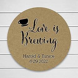 Kraft Wedding Stickers, Love is Brewing Tea or Coffee Wedding Stickers, Wedding Labels (#095-KR)