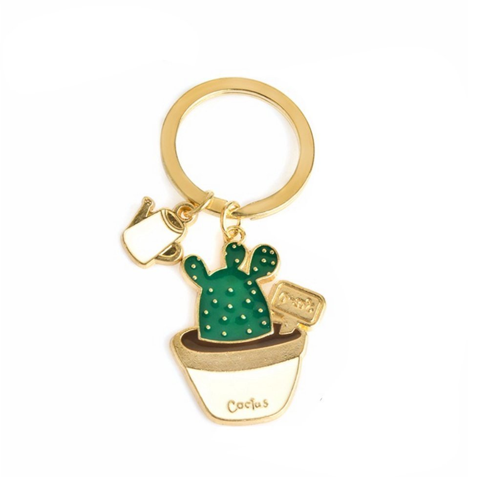 Amazon.com: outflower Cute Cactus llavero colgante de ...
