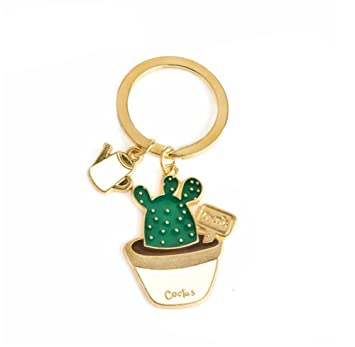Outflower Cute Cactus Keychain Succulent Pendant Cartoon Plants Key Ring