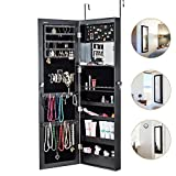 HERRON Jewelry Cabinet Armoire Mirror Led Light Wall Door Mounted Organizer Storage,Black