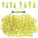 Glarks 100pcs 12-10 Gauge Fully Insulated Female Male Spade Nylon Quick Disconnect Electrical Insulated Crimp Terminals Connectors Assortment Kit