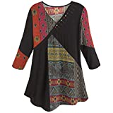 Women's Tunic Top- Red and Black Tapestry Print Patchwork Shirt - 3X