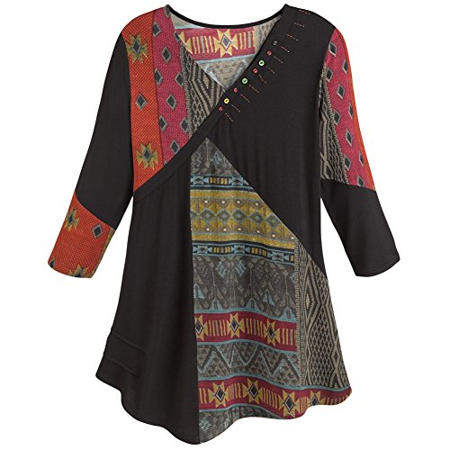 (Parsley & Sage Women's Tunic Top- Red and Black Tapestry Print Patchwork Shirt - Large)