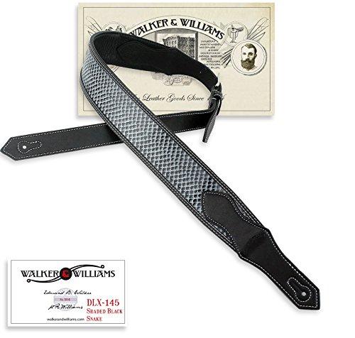 Walker & Williams DLX-145 Burnished Black Snakeskin Padded Leather Strap