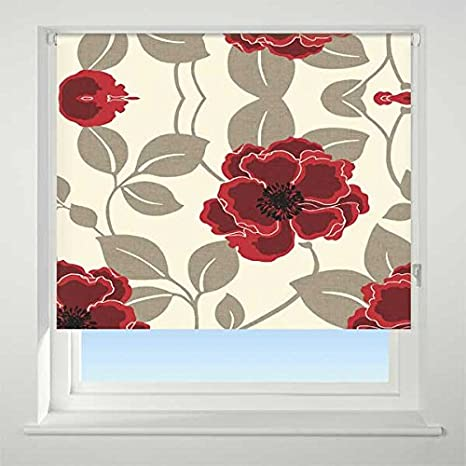 UNIVERSAL Papavero Patterned Thermal Blackout Roller Blind Red W60cm
