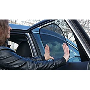 Kassa Inc Static Cling UV Protection Car Sun Shades, Black, Set of 2
