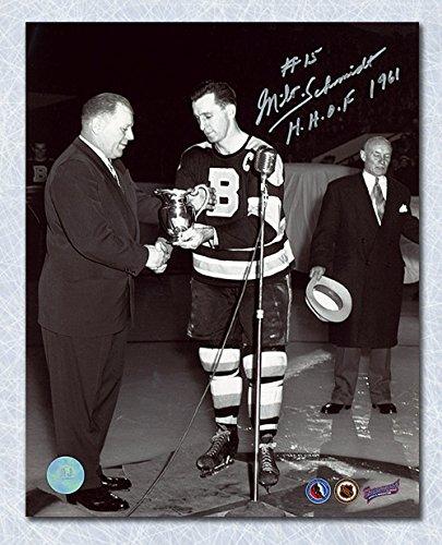 AJ Sports World Milt Schmidt Boston Bruins Autographed Hart Trophy MVP 8x10 Photo