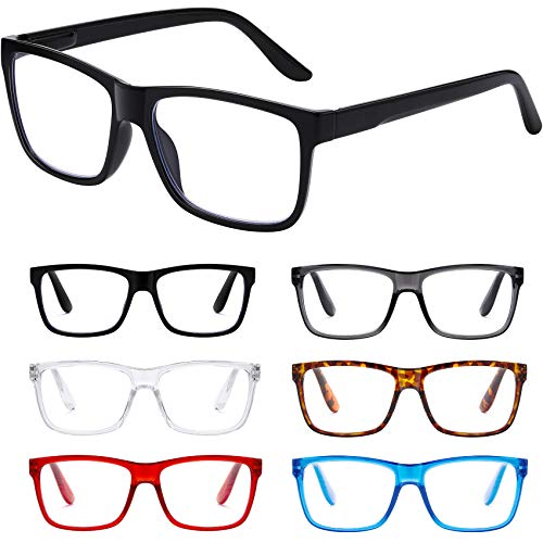 Reading Glasses Blue Light Blocking glasses women/men - 6Pack Spring Hinge Computer Readers Anti Glare Filter Square Frames Eyeglasses