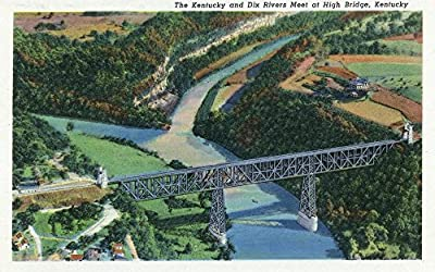 Kentucky - Aerial View of the High Bridge where the Kentucky and Dix Rivers Meet (24x36 Collectible Giclee Gallery Print, Wall Decor Travel Poster)