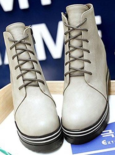 Easemax Women's Dressy Platform Round Toe Lace Up High Wedge Hidden Heel Short Ankle Booties Grey tcKiuLXo
