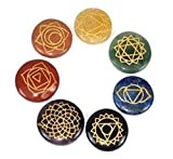 Healing Crystals India - 7 Polished, Engraved Stones to Balance Chakras Holistic Health Care Products